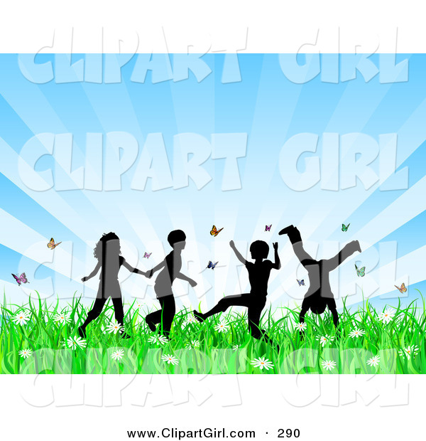 Clip Art of a Group of 4 Silhouetted Children Running, Holding Hands and Doing Somersaults in a Field of Butterflies and Spring Flowers over a Bursting Blue Background