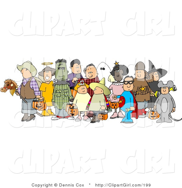 Clip Art of a Group of Adults and Children Wearing Halloween Costumes Before Trick or Treating