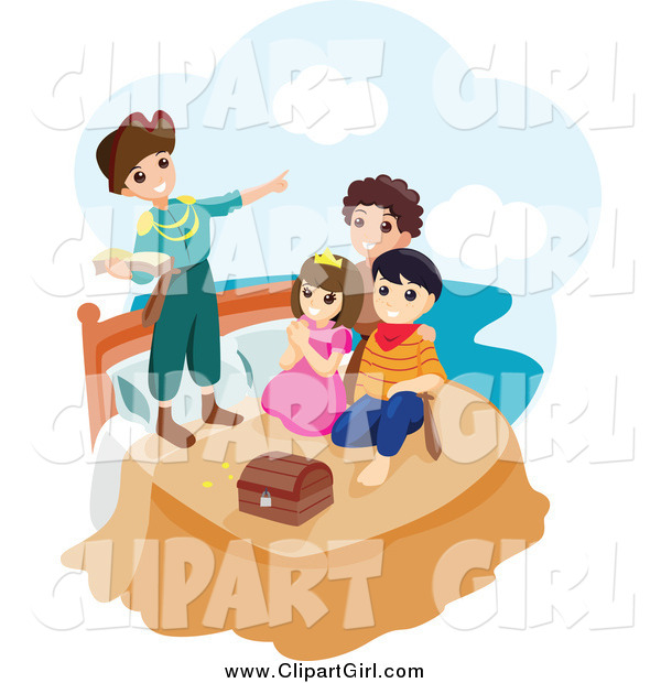 Clip Art of a Group of Happy Children Playing Peter Pan