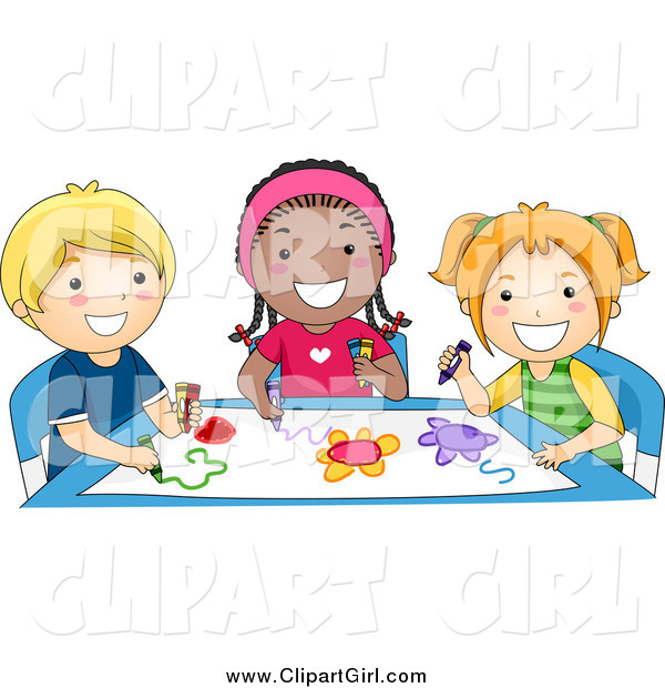 Clip Art of a Group of Happy Diverse Preschoolers Coloring