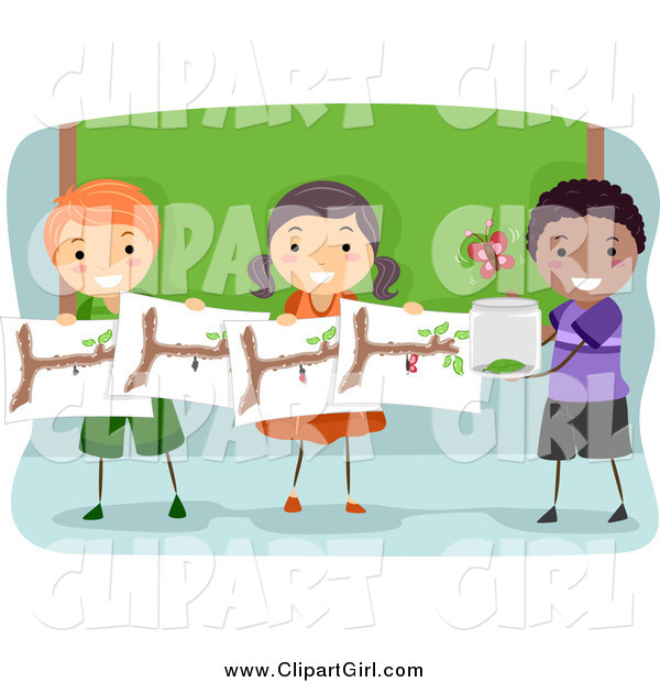 Clip Art of a Group of Happy Students Studying Butterflies