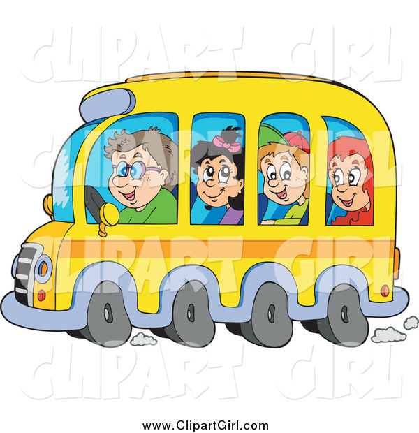Clip Art of a Group of Happy White School Children and Driver on a Bus