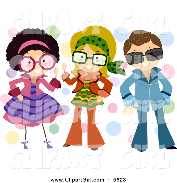 Clip Art of a Group of Kids Dressed up in Retro Outfits