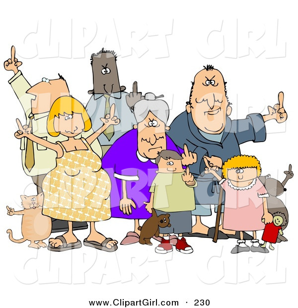Clip Art of a Group of Mad People of All Ages and Mixed Ethnicities, Standing with Pets and Flipping People OffGroup of Mad People of All Ages and Mixed Ethnicities, Standing with Pets and Flipping People off
