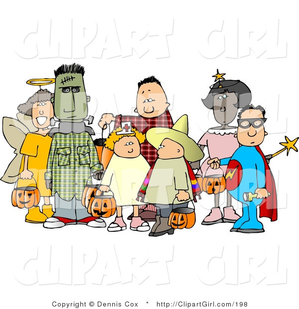 Clip Art of a Group of Male and Female Halloween Trick-or-treaters Standing Together
