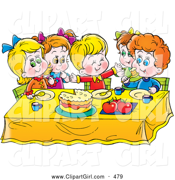 Clip Art of a Group of Smiling Children Eating Cake at a Table