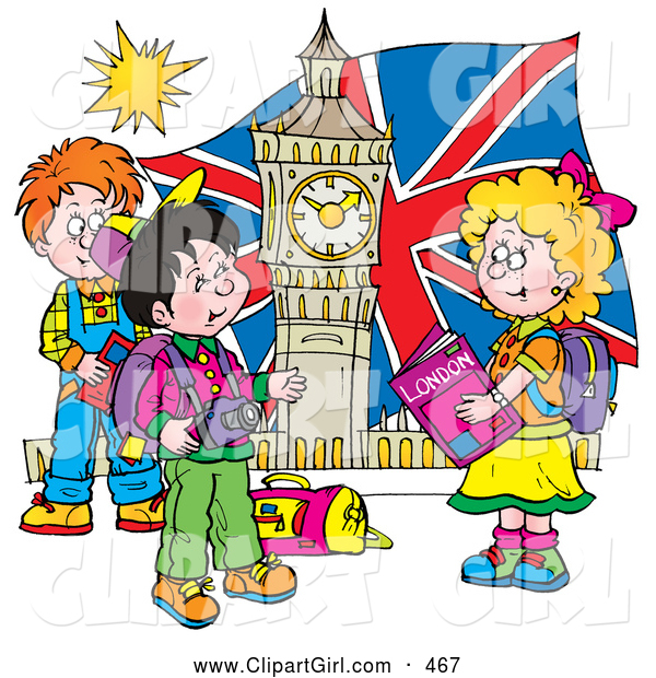 Clip Art of a Group of Smiling Children Touring London, Admiring Big Ben