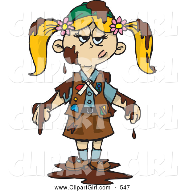 Clip Art of a Grumpy Blond Girl Scout Covered in Mud or Chocolate, a Chocolate Brownie