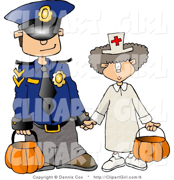 Clip Art of a Halloween Police Officer and Doctor Trick or Treating