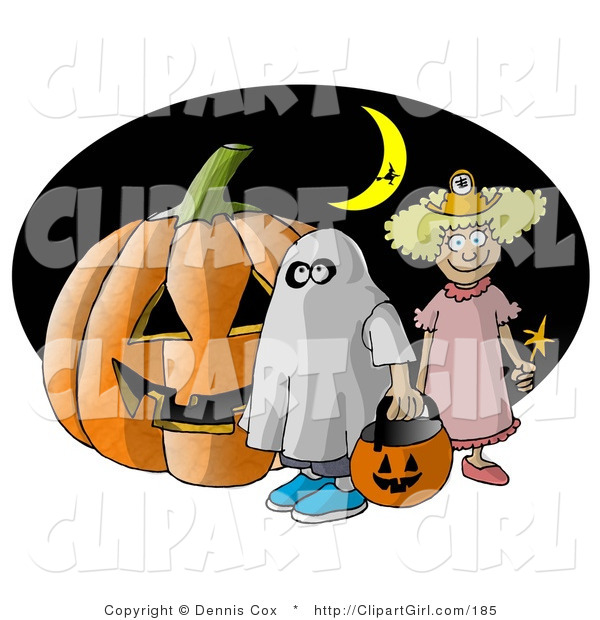 Clip Art of a Halloween Pumpkin, Two Trick-or-Treaters, and Witch Flying in Front of a Crescent Moon