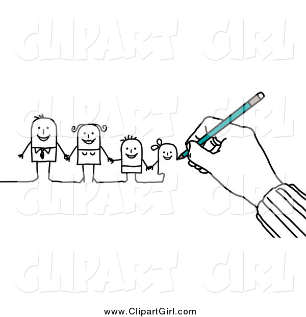 Clip Art of a Hand Drawing a Family of Stick People