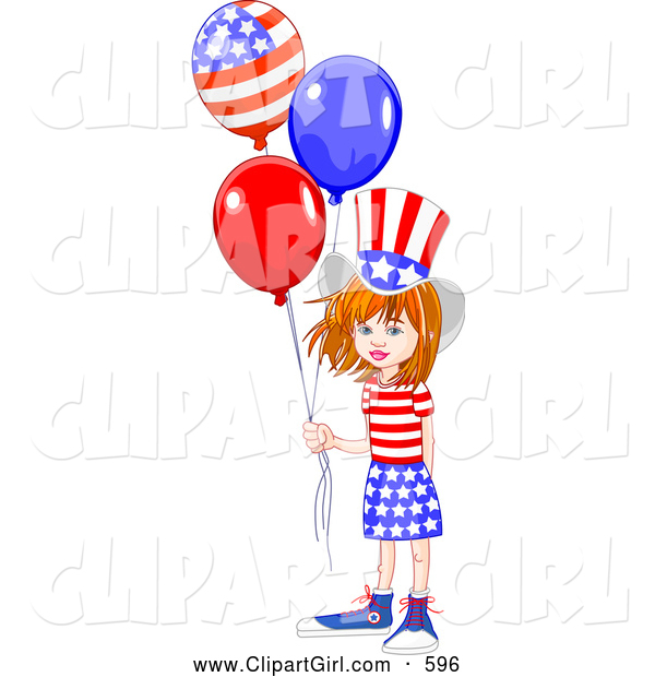 Clip Art of a Happy American White Girl Wearing the Stars and Stripes, Holding Patriotic Balloons
