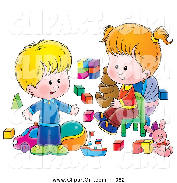 Clip Art of a Happy and Blond Little Boy and His Sister Playing with Toys in a Nursery Room