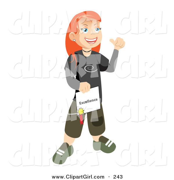 Clip Art of a Happy and Proud White Skater School Girl with Red Hair, Smiling and Holding Her Certificate of Excellence for Honor Roll
