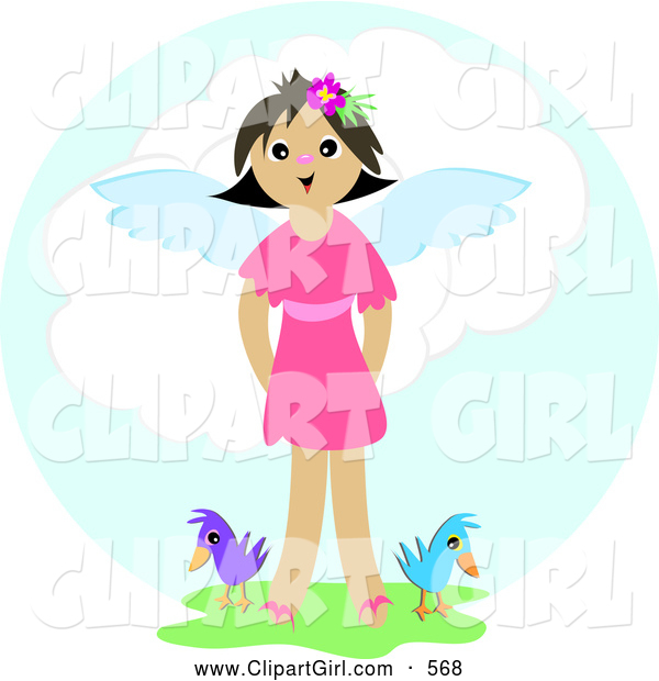 Clip Art of a Happy Angel Girl Standing in Green Grass with Two Birds in Heaven
