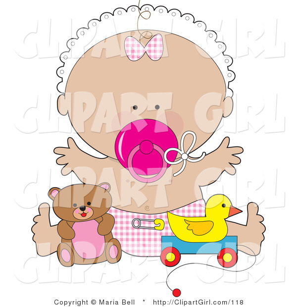 Clip Art of a Happy Baby Girl in a White Bonnet, Pink Checkered Bow and Diaper, Sucking on a Pink Pacifier and Holding Her Arms out While Playing with Toys in a Nursery