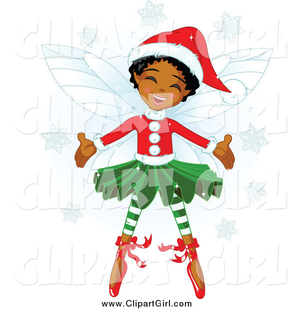 Clip Art of a Happy Black Christmas Fairy Girl
