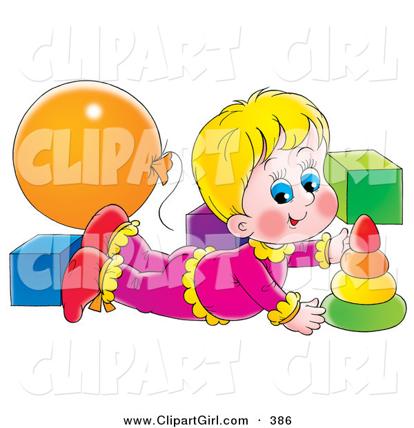 Clip Art of a Happy Blond Girl Laying on Her Belly and Playing with Toys in a Nursery
