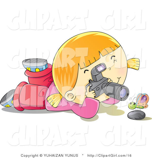 Clip Art of a Happy Blond Girl with a Camera Photographing a Butterfly over a Rock