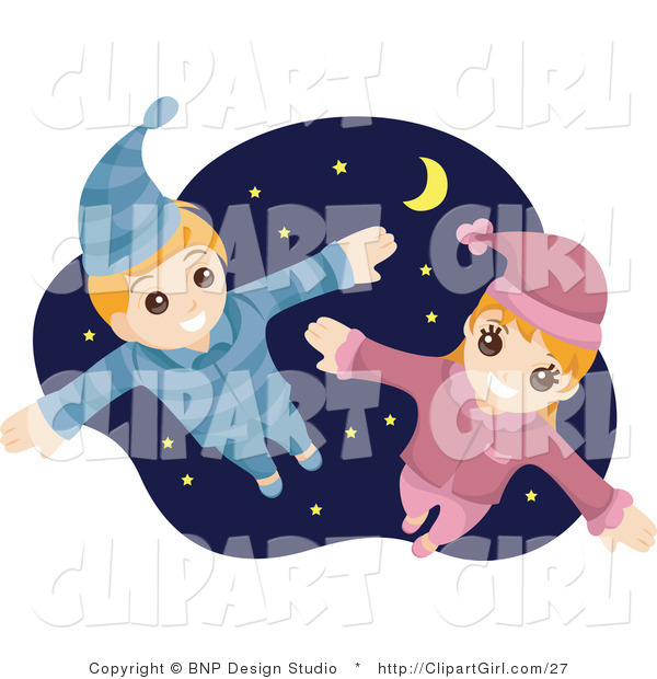 Clip Art of a Happy Boy and Girl Flying in Their Pajamas Against a Starry Nighttime Sky