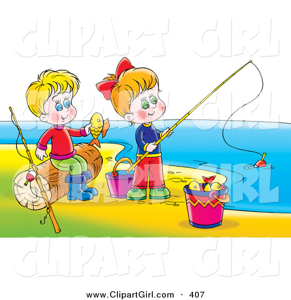 Clip Art of a Happy Boy and Girl Having Fun While Fishing on a Beach