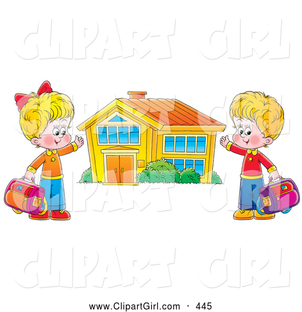 Clip Art of a Happy Boy and Girl Holding Their Bags and Presenting Their School Building