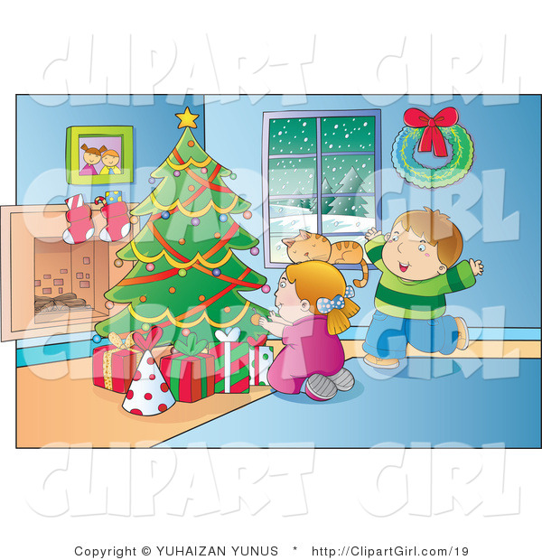 Clip Art of a Happy Boy and Girl Ready to Open Their Christmas Presents on a Winter Day