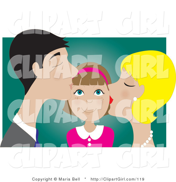 Clip Art of a Happy Brunette Girl Smiling As Her Blond Mother and Dark Haired Father Kiss Her on the Cheek
