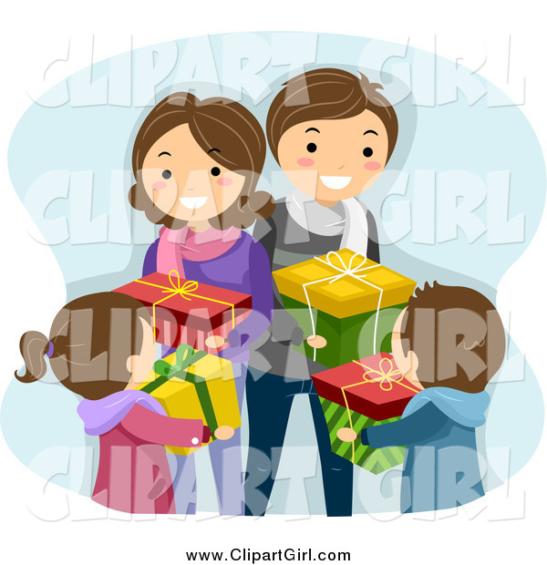 Clip Art of a Happy Caucasian Family Exchanging Christmas Gifts