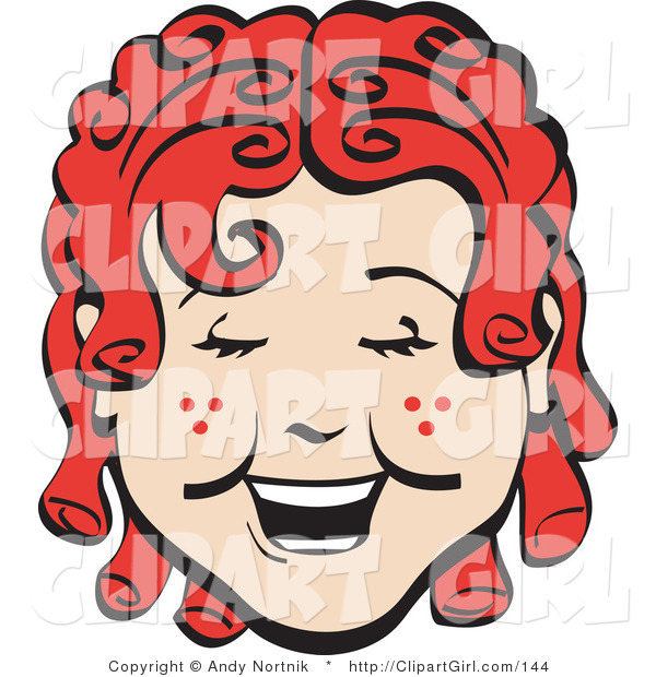 Clip Art of a Happy Curly Red Headed Girl with Freckles, Laughing Retro