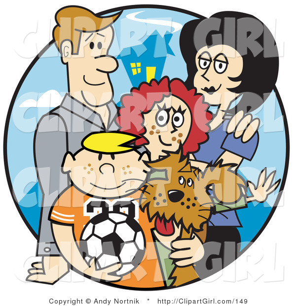 Clip Art of a Happy Family of Four with Their Dog and a Soccer Ball