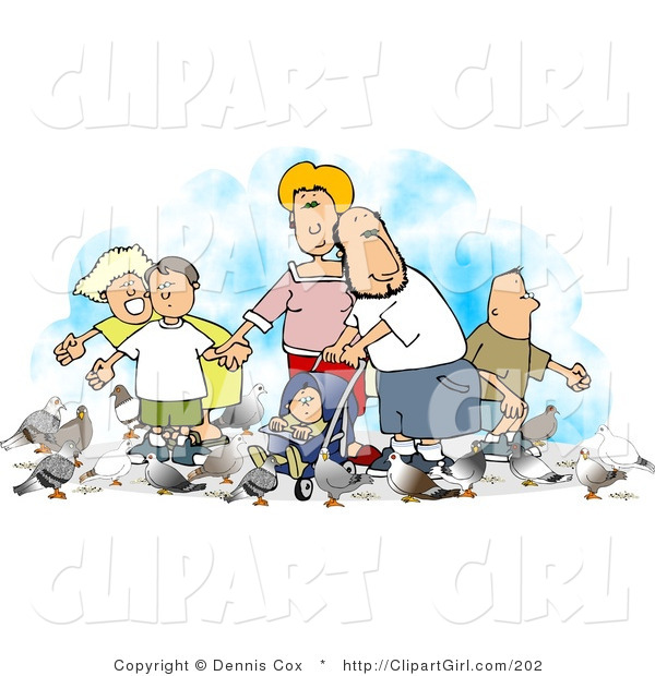 Clip Art of a Happy Family of Six Feeding Pigeons