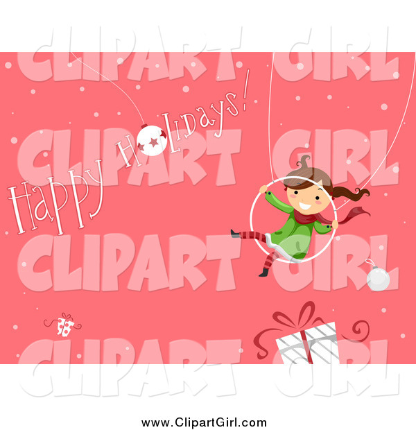 Clip Art of a Happy Girl Swinging over a Gift with a Happy Holidays Greeting on Pink