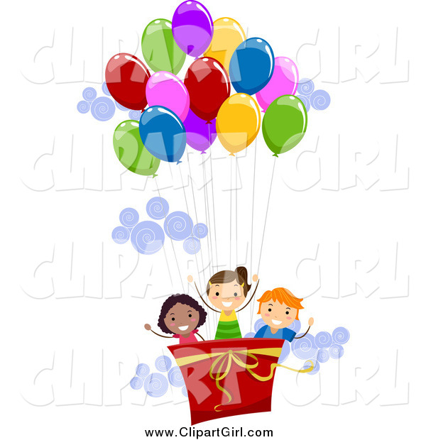 Clip Art of a Happy Kids in a Hot Air Balloon