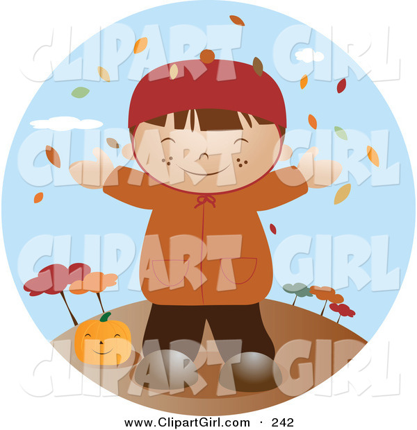Clip Art of a Happy Little Caucasian Boy Wearing a Coat, Smiling and Holding His Arms out While Autumn Leaves Fall down from the Trees and Standing by a Pumpkin on a Breezy Fall Day