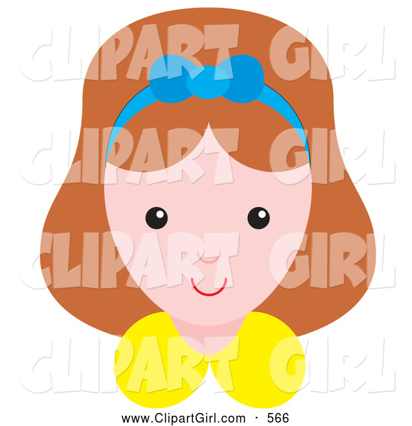 Clip Art of a Happy Little Girl Wearing a Blue Ribbon in Her Hair