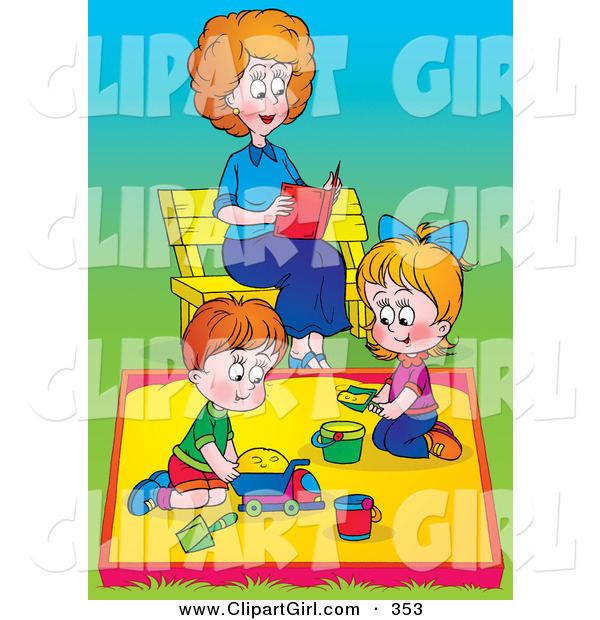 Clip Art of a Happy Mom Reading a Book on a Bench While Her Children Play in a Sand Box at a Park