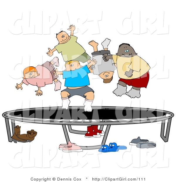Clip Art of a Happy Multi-Ethnic and Multi-Gender Kids Jumping on a Trampoline Together While Playing