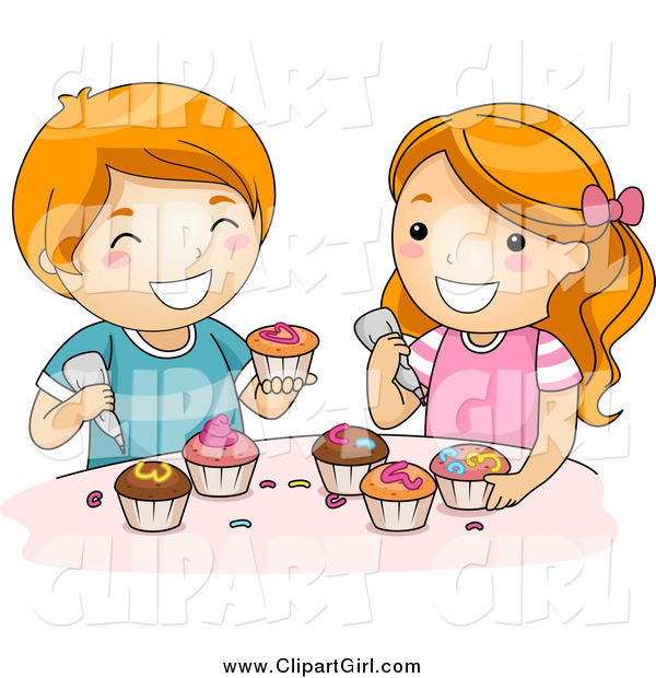Clip Art of a Happy Red Haired White Boy and Girl Icing Cupcakes