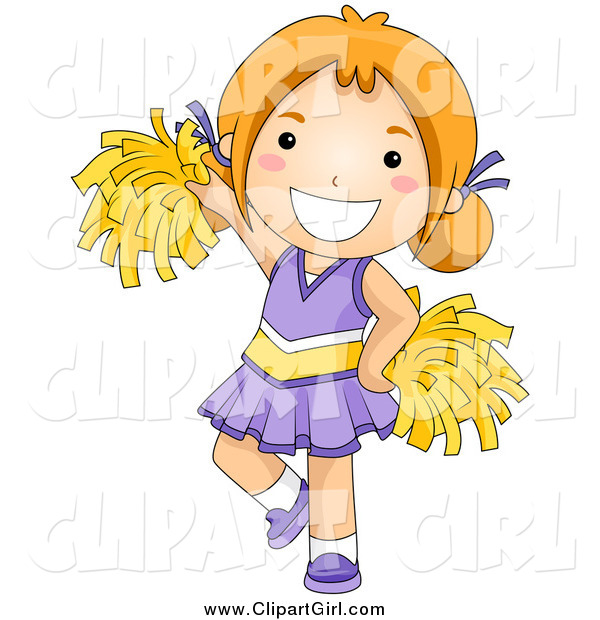 Clip Art of a Happy Red Haired White Cheerleader Girl in Purple