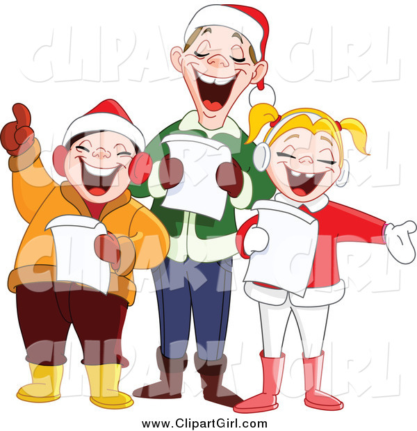 Clip Art of a Happy Singing Family at Christmas Time