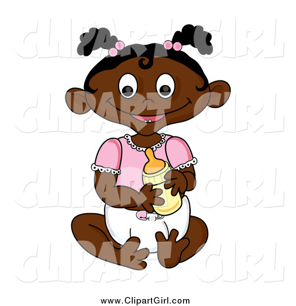 Clip Art of a Happy Sitting Black Baby Girl Holding a Bottle