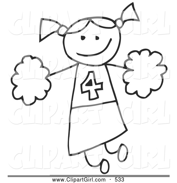 Clip Art of a Happy Stick Figure Cheerleader Girl Holding Pom Poms