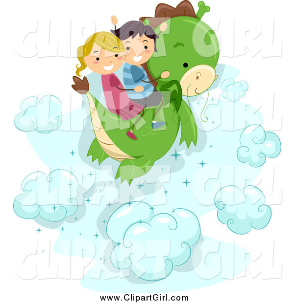 Clip Art of a Happy Stick Kids Flying on a Dragon