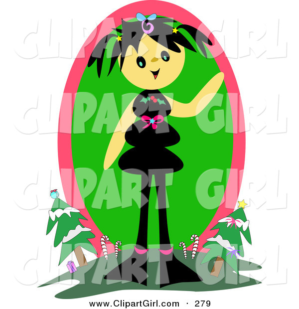 Clip Art of a Happy Tan Girl with Black Hair, Standing on a Hill and Waving with Christmas Trees and Candy Canes in the Background