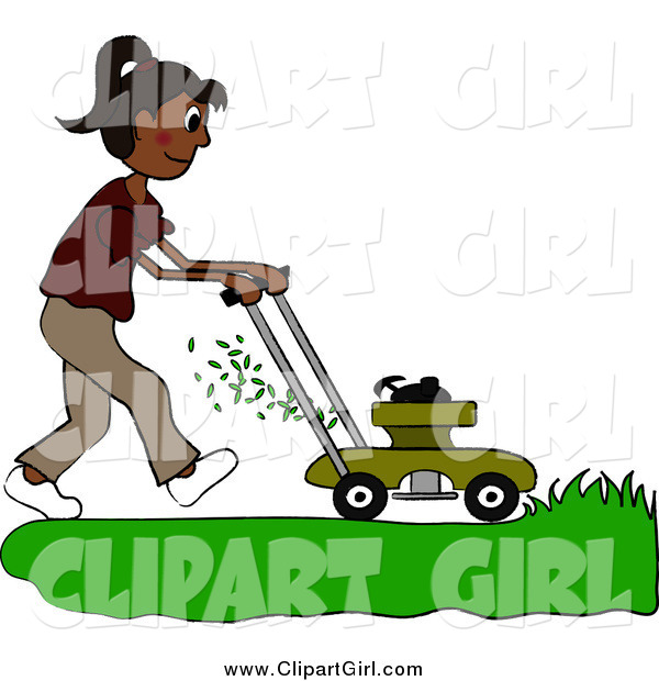 Clip Art of a Hispanic Woman Mowing a Lawn with a Mower