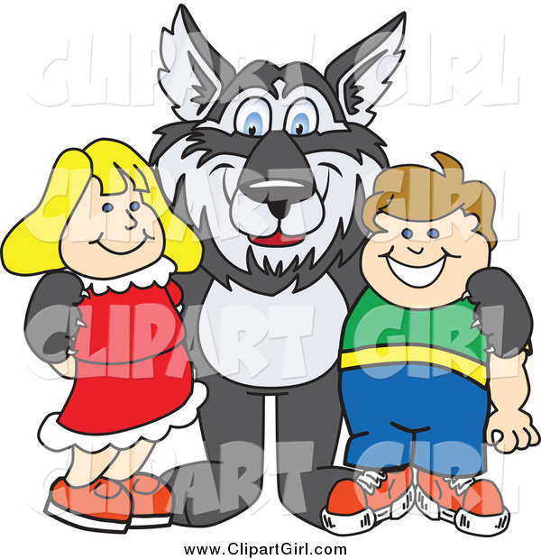Clip Art of a Husky Dog with Students