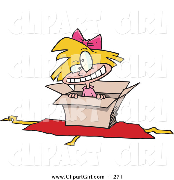 Clip Art of a Hyper Little Blond White Girl Inside an Open Box with Opened Wrapping Paper Underneath