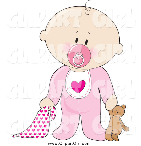 Clip Art of a Innocent White Baby Boy with a Teddy Bear, Pacifier and Blanket