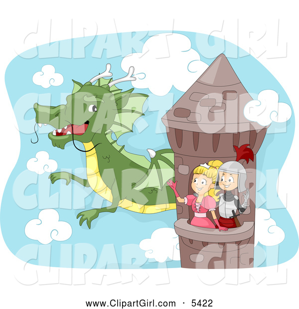 Clip Art of a Knight and Princess in a Tower, Waving to a Dragon